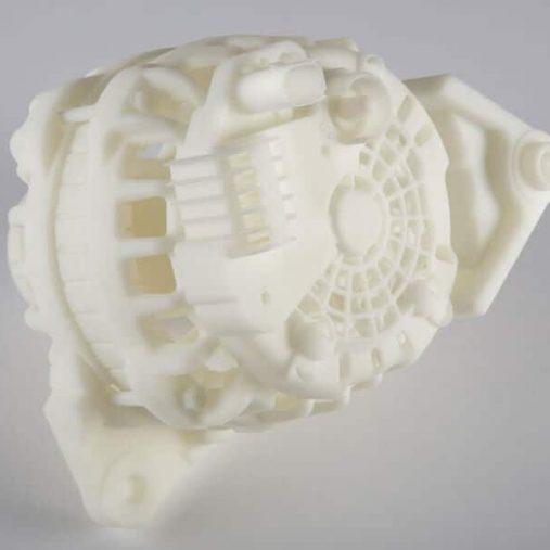 Pièce imprimée 3D par frittage laser en plastique PA 12 avec finition TRIBO